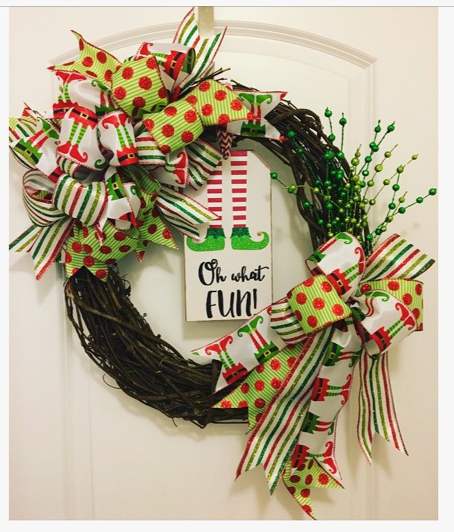 Oh What Fun Elf Wreath Handmade 18 in grapevine #grapevine #wreath