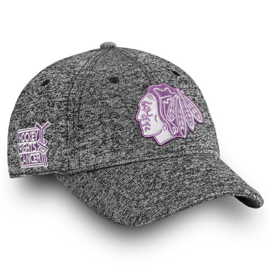 0dd22589aebf5 Women s Chicago Blackhawks Fanatics Branded Black White 2018 Hockey Fights  Cancer Fundamental Adjustable Hat
