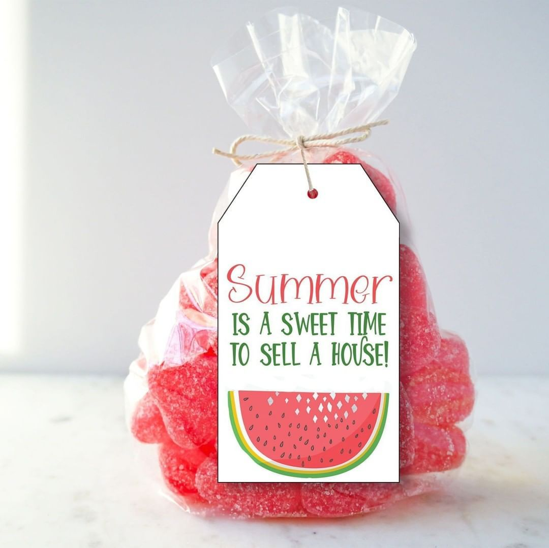 @CraftyBeeDesigns posted to Instagram: Summer is a Sweet Time to Sell Your House Pop By Tag. Pop By Idea: Add this tag to a bag of watermelon candy or even a gift basket with a watermelon, pretty napkins and plates. These tags can be personalized with just a few clicks. Tap the link in my bio to shop -> @popbyideas_craftybeedesigns  #realestate #realtorlife #realtor  #realestatelife #realestateagent #realtors #popbygifts #popbyideas #diymarketing #realestatemarketing #luxuryproperties #luxurypro