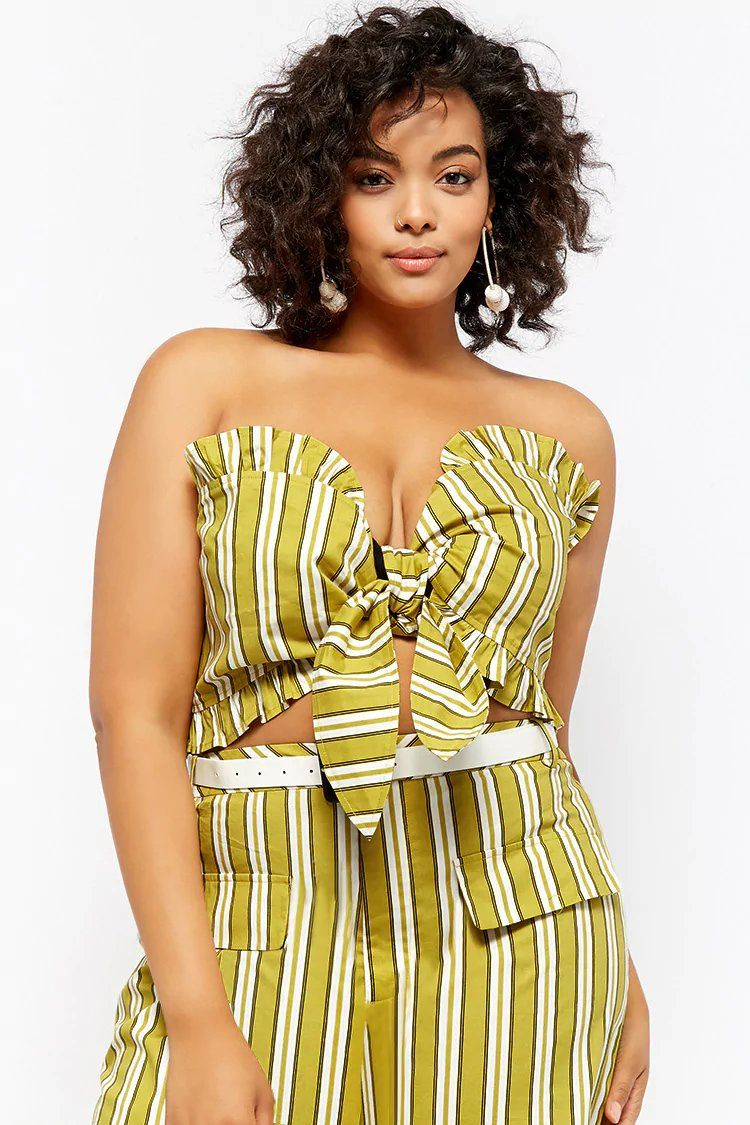 ccf2db1ab9 Plus Size Striped Tie-Front Tube Top
