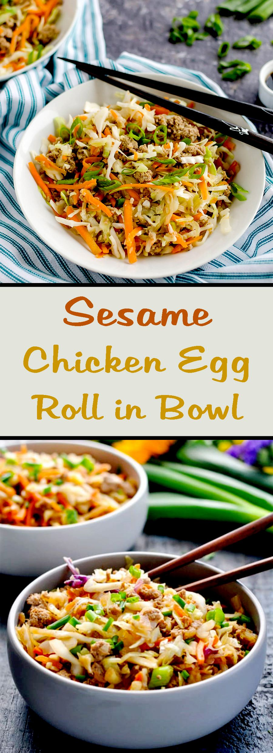 Sesame Chicken Egg Roll in Bowl
