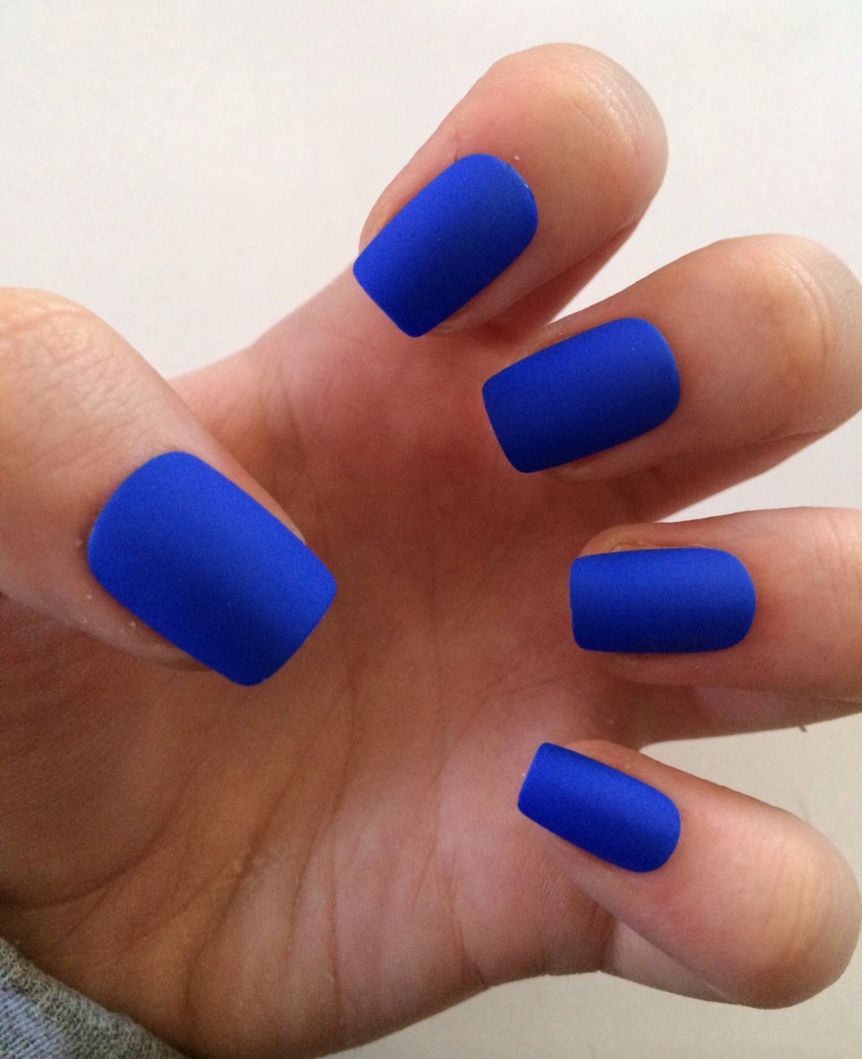 Royal Blue Fake Nails Matte Press On By Nailsbykate Etsy