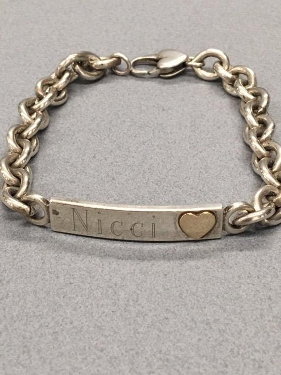 925 ID Bracelet 14K Gold Heart Heavy Silver Cable Chain Link Modern Vintage Love Jewelry Gift