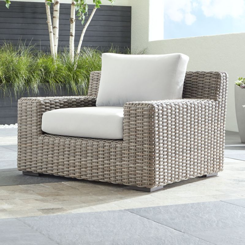 Cayman Outdoor Lounge Chair with White Sand Sunbrella