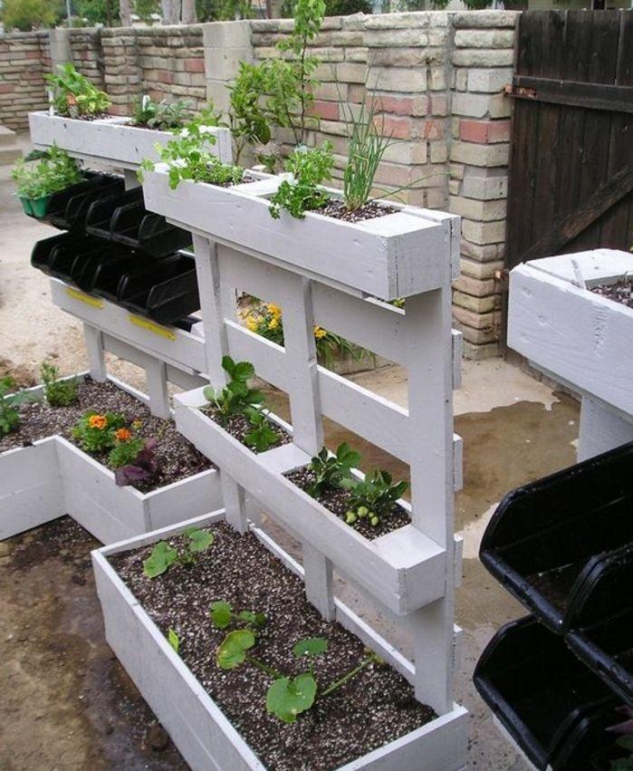 1001 tutoriels et id es pour fabriquer une jardini re en palette jardinage palette planter. Black Bedroom Furniture Sets. Home Design Ideas