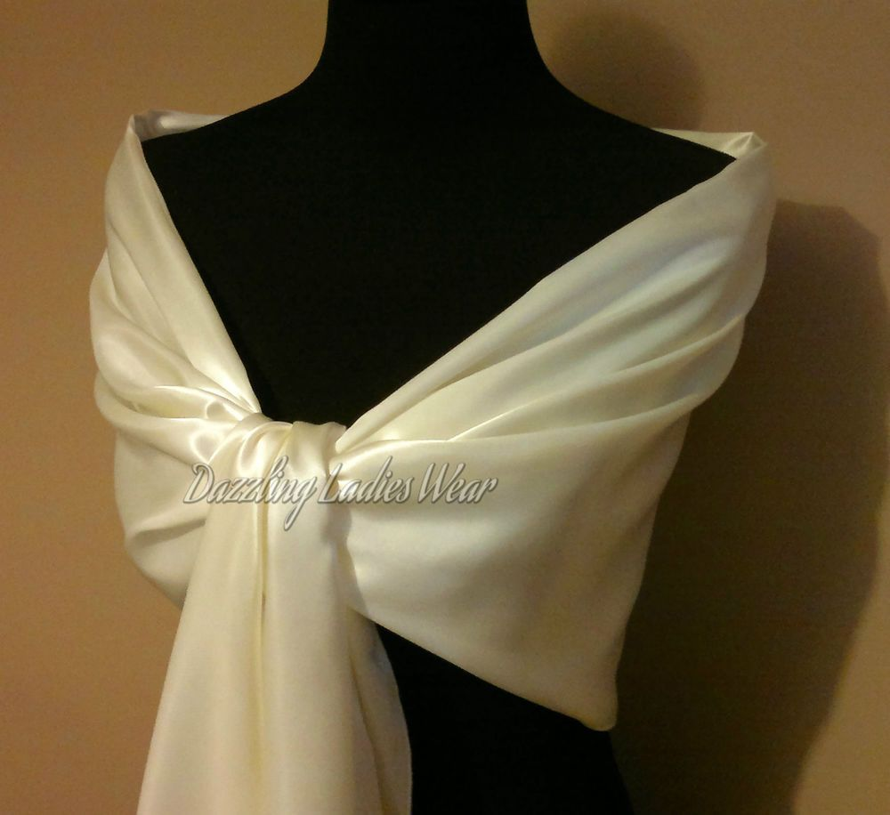 Ivory Chiffon Large Shawl//Wrap//Stole//Bolero//Pashmina//Scarf//Shrug Wedding New
