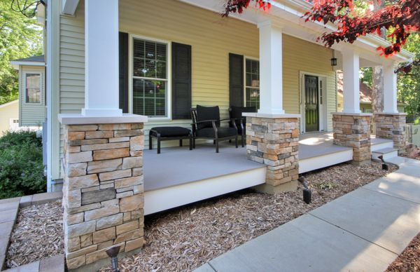 Front Porch Posts With Stone Base : The basics of repairing wood columns home repair tips