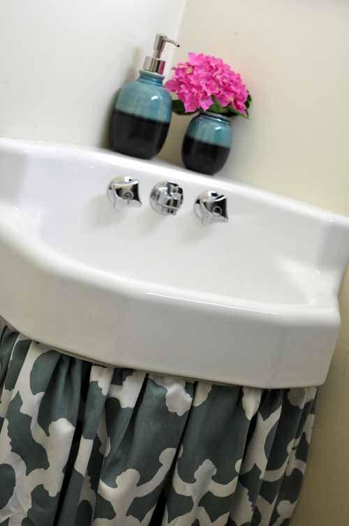 How To Make A Sink Curtain Skirt Easy Diy Tutorial Bumblebee Linens Bathroom Sink Skirt Sink Skirt Primitive Bathrooms