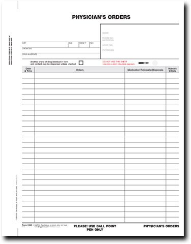 Blank Physician Order Sheet Terri S Pins Order Form