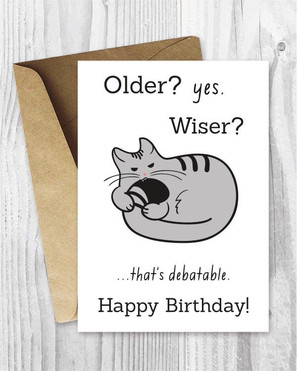 Happy Birthday Cards Funny Printable Cat Card Digital Download