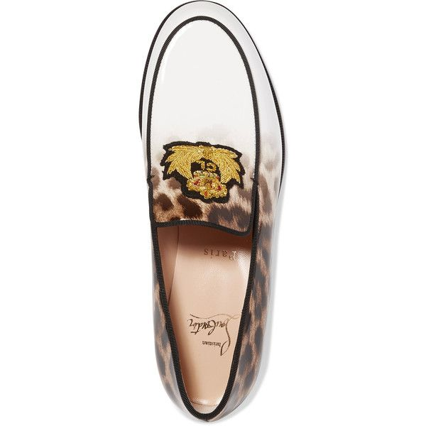 Christian Louboutin Laperouza appliquéd leopard-print patent-leather... (2.451.615 COP) ❤ liked on Polyvore featuring shoes, loafers, christian louboutin shoes, christian louboutin loafers, leopard loafers, leopard print shoes and leopard shoes