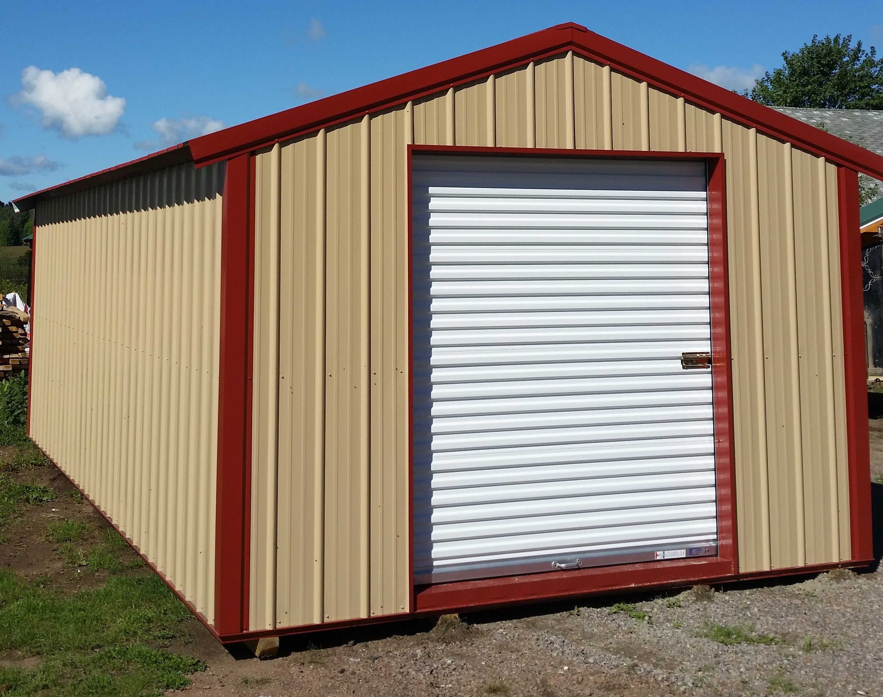 10x16 A Frame Shed Rawhide Steel Sides Rural Red Roof And Trim 6x7 Rollup Door 2600 House Exterior Shed Red Roof