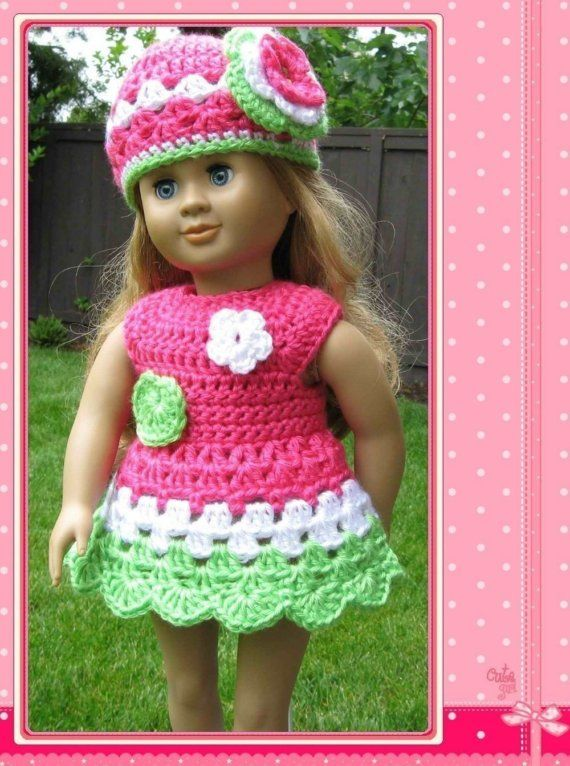 Pattern in PDF crocheted doll clothes dress for American Girl, Gotz ...
