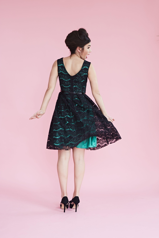Lace dress vintage  Black lace with a splash of green vintage fashion retro style
