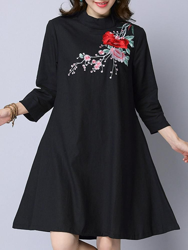 Ladies Long Sleeved Dress With Embroidery In Neckline