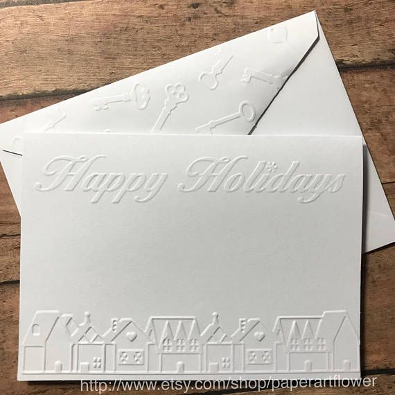 christmas card set house white embossed card note cards happy holiday greeting cards