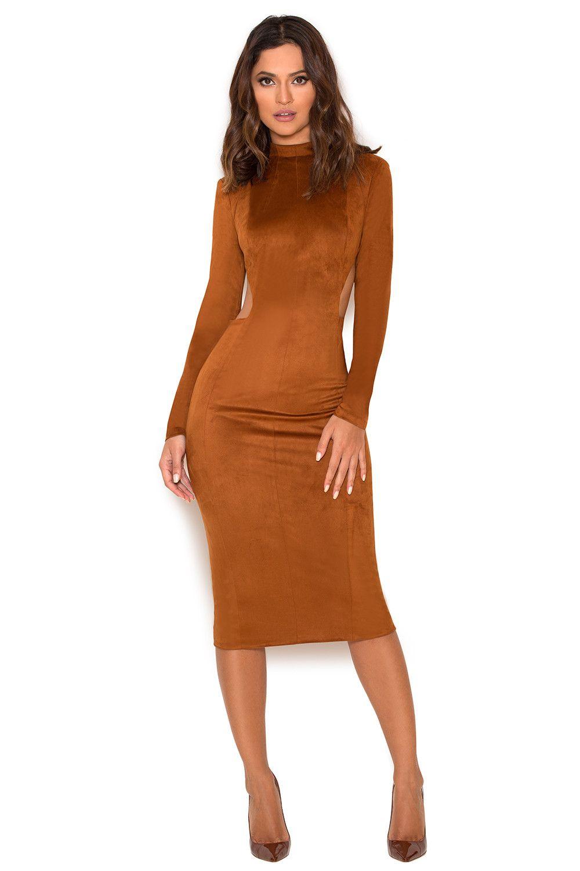 Clothing bodycon dresses ulaurinau tan suedette cut out dress