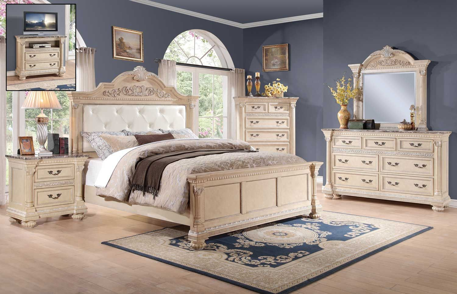 Homelegance Russian Hill Bedroom Set Antique White Upholstered Bedroom Set White Bedroom Furniture Furniture
