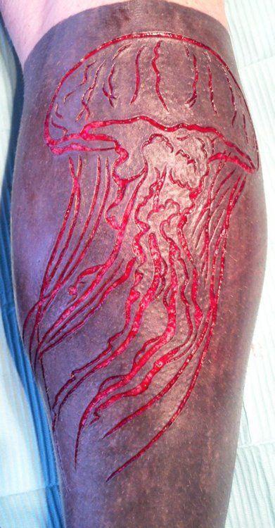 Jellyfish Scarification Over Blackwork Tattoo Blackwork Tattoo Unusual Tattoo Body Art
