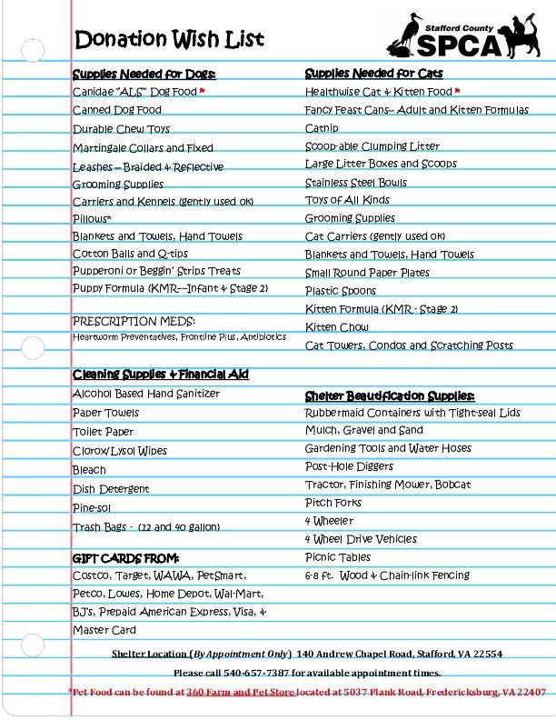 Items that we need at the shelter  Email Ahoffman