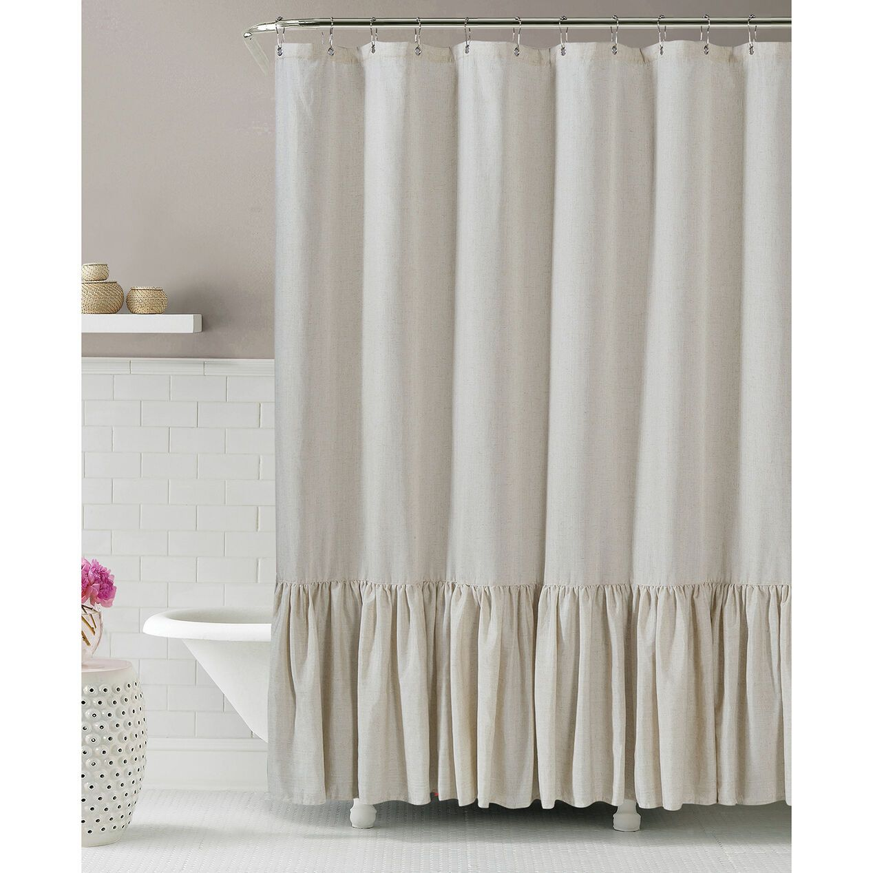 Gabriella Natural Linen Shower Curtain In 2020 Ruffle Shower Curtains Shabby Chic Bathroom Chic Bathrooms