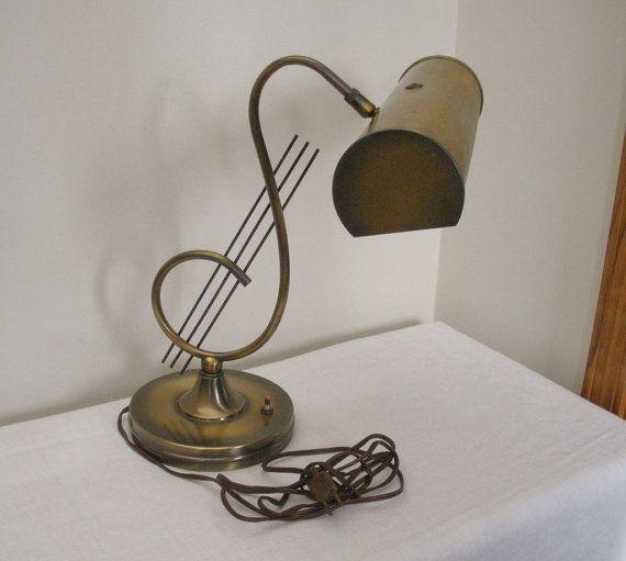 Vintage Antique Brass Treble Clef Piano Lamp by WildrosePrimitives ...