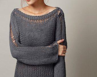 Knitting A Sweater Neckline : Hand stricken woman sweater eco baumwolle oversized pullover in