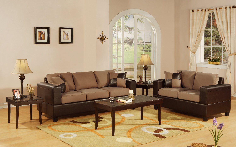 Amazon Com Bobkona Seattle Microfiber Sofa And Loveseat 2 Piece Set In Saddle Color Sect