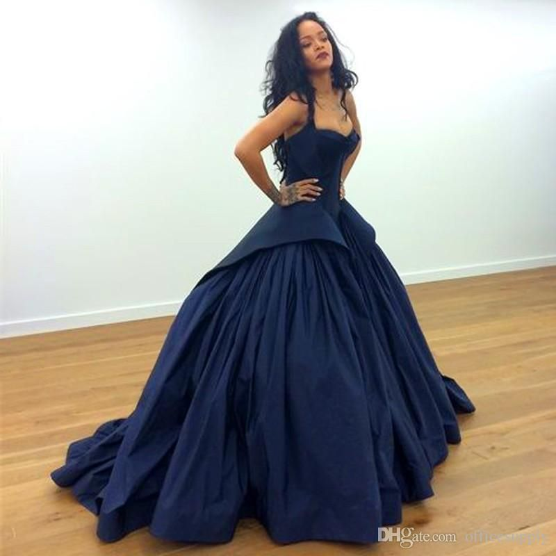 New Arrival Rihanna Ball Gown Navy Blue Celebrity Formal 2017