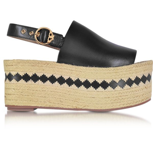 5c571c39052c Tory Burch Shoes Dandy Black Veg Leather Wedge Espadrille Sandal ...