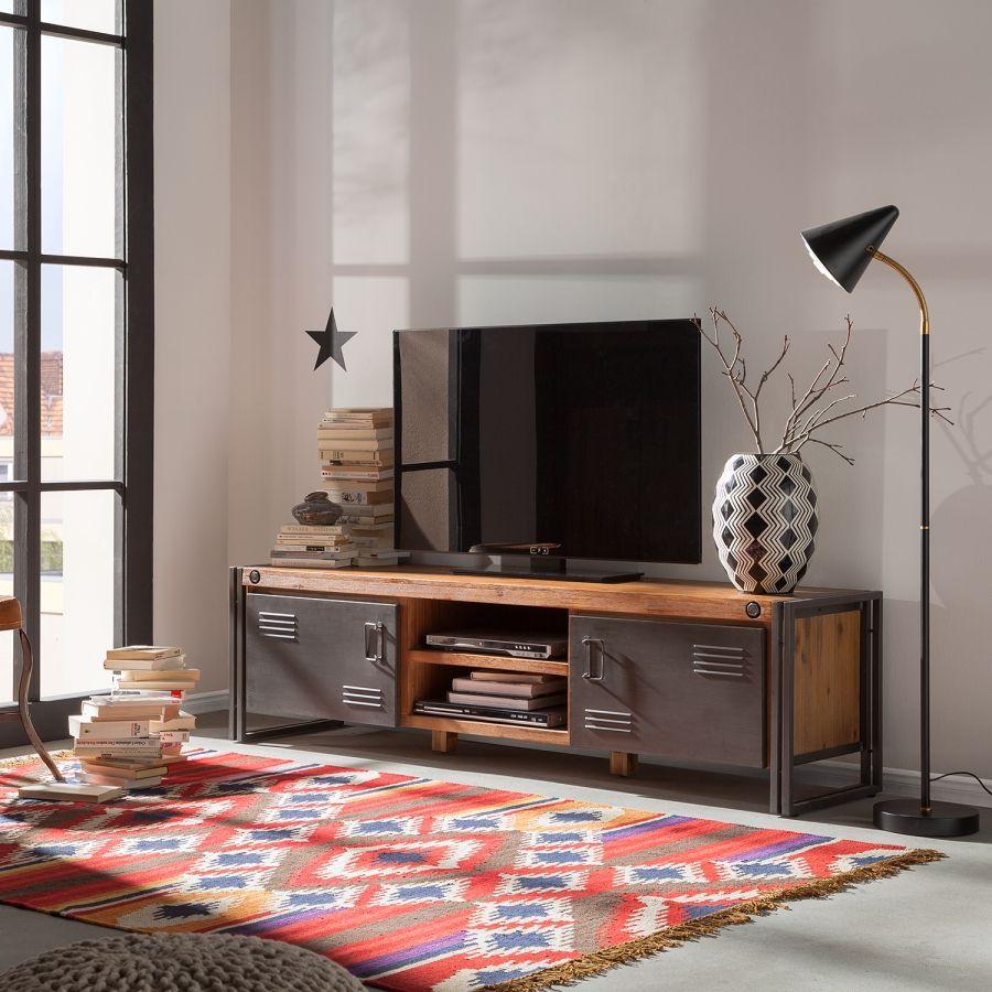 Meuble Bas Manchester Ii Acacia Massif M Tal Meuble Tv  # Table Basse Et Meuble Tv Assortis