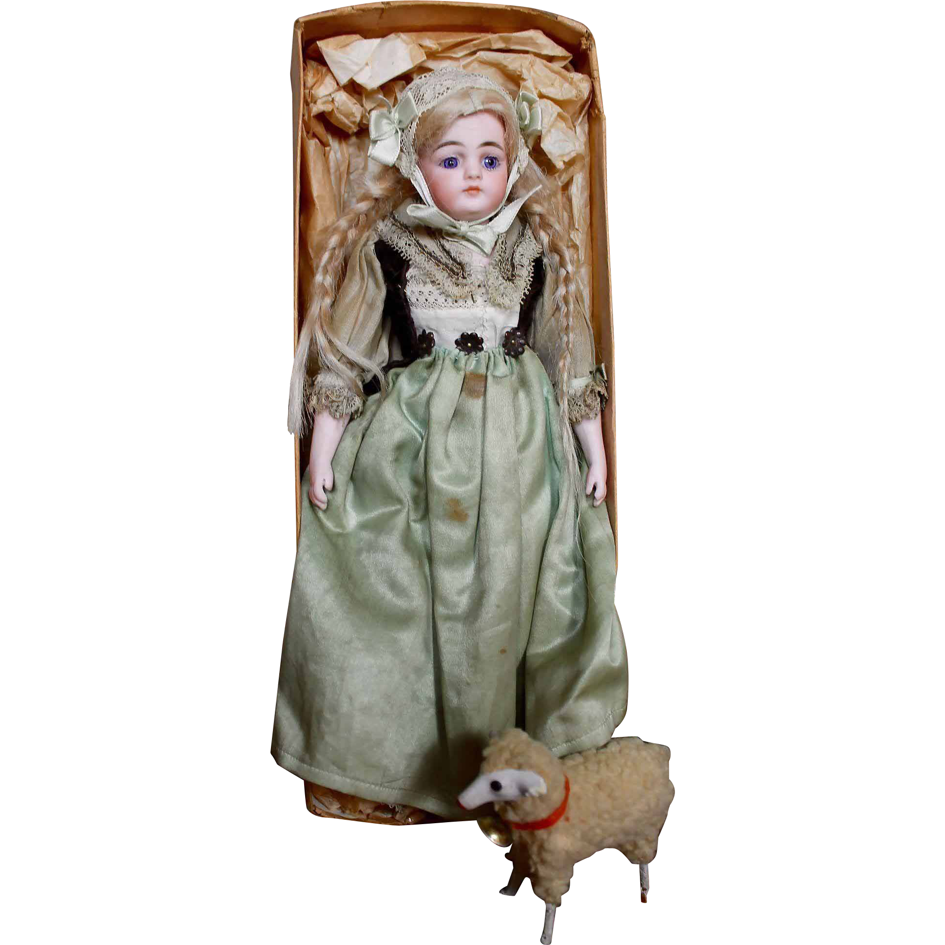 Precious 9 1/2 all original Simon Halbig 950 child in box with sheep.  What a darling face on this absolutely adorable petite child made by the German