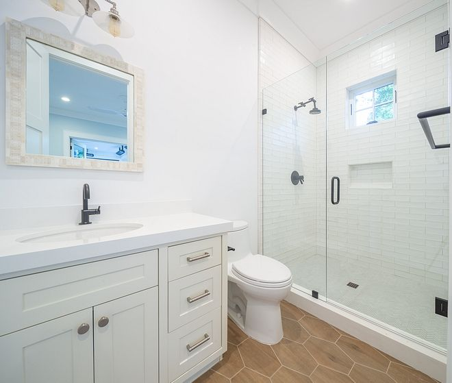 Super White OC- 152 Crisp White Bathroom Paint Color Cabinet paint color is Sherwin Williams Sea Salt SW 6204 Benjamin Moore Super White OC- 152 Crisp White Bathroom Paint Color #BenjaminMooreSuperWhite #OC152 #CrispWhite #Bathroom #PaintColor #whitebathroompaint