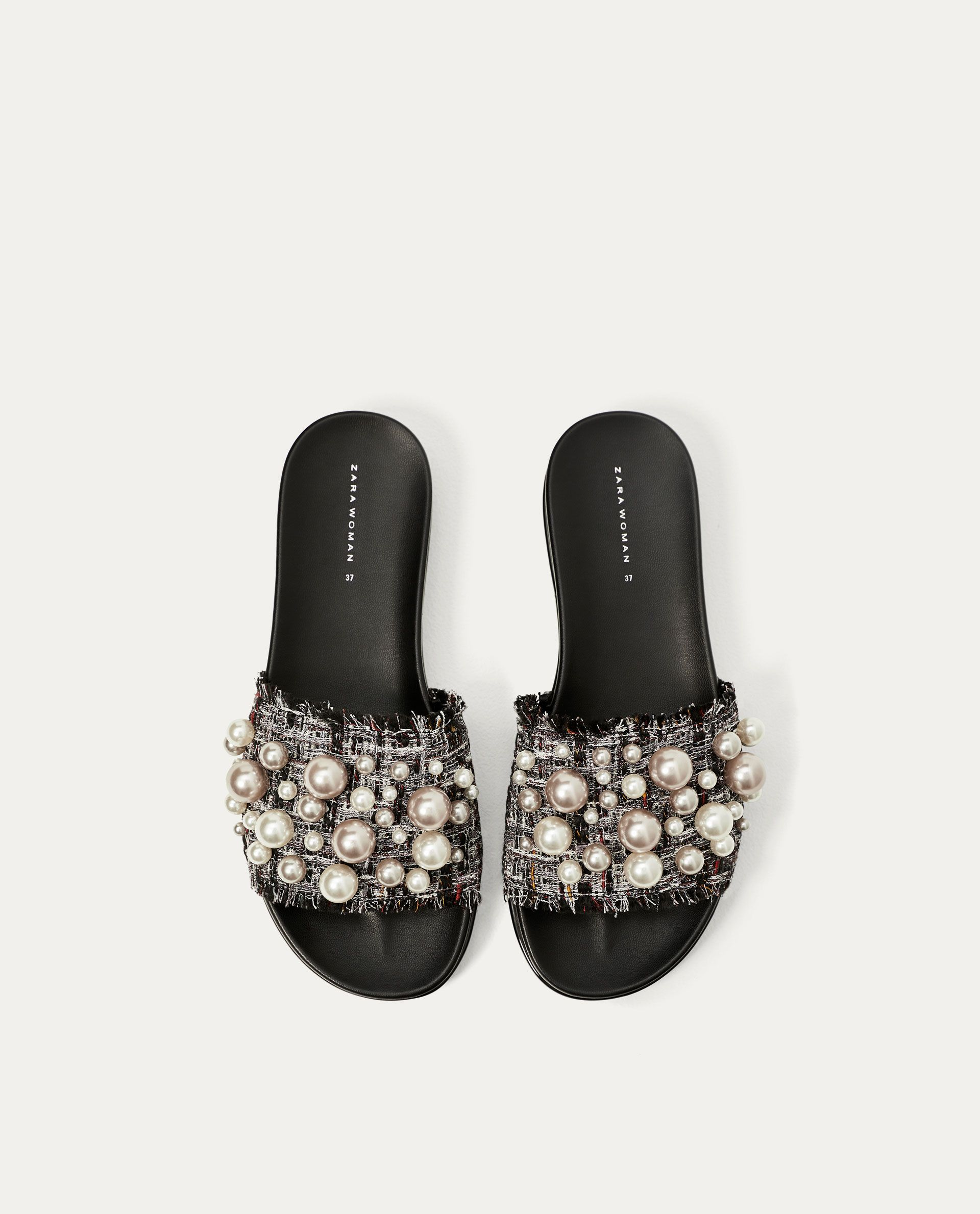 74252c24c47 ZARA - COLLECTION AW 17 - SLIDES WITH FAUX PEARLS Pearl Sandals