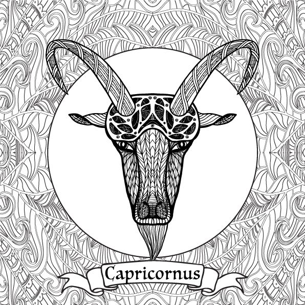 Capricorn Zodiac Sign Coloring Page on Behance Zodiac Coloring