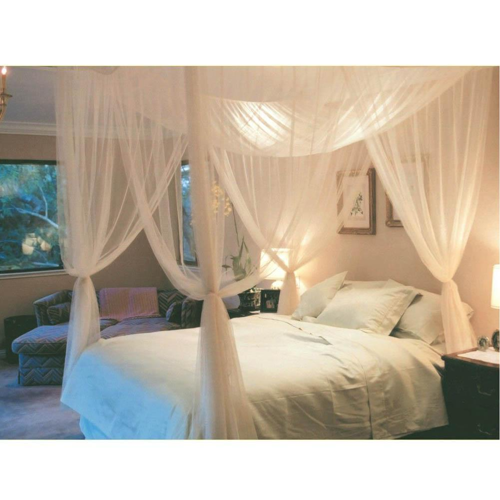 White Three Door Princess Mosquito Net Double Bed Curtains Sleeping Curtain Canopy Full Queen
