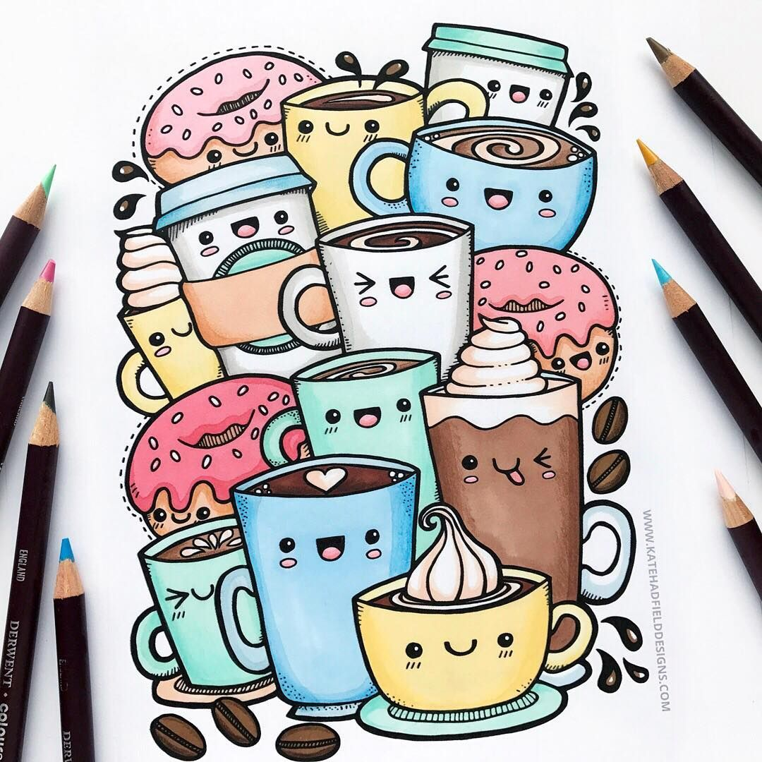 Kawaii Coffee Sketchbook Drawing Free Colouring Page Download Available Kawaiidoodle Kawaiiart Kawaii Doodle Art Drawing Cute Doodle Art Doodle Art