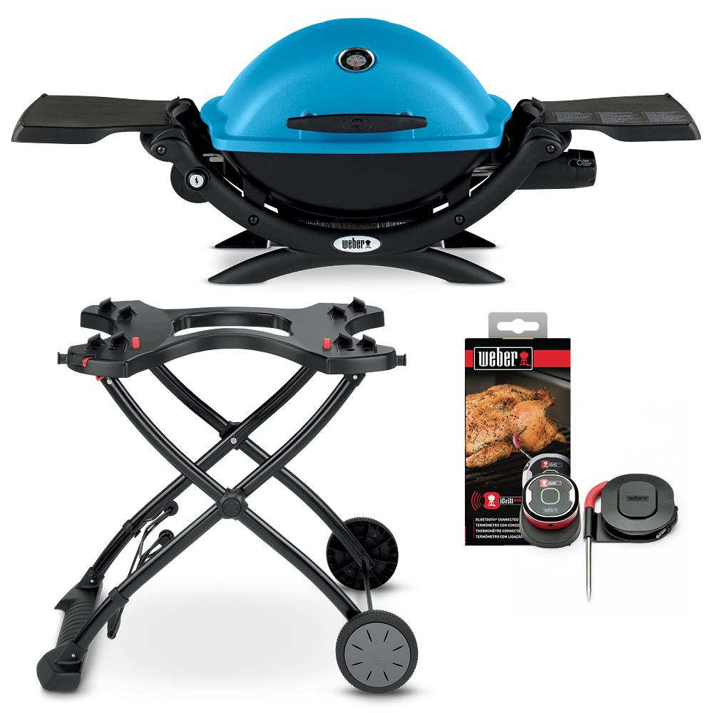 Weber Q 1200 1 Burner Portable Propane Gas Grill Combo In Blue With Rolling Cart And Igrill Mini 18109 The Home Depot In 2020 Propane Gas Grill Gas Grill Camping In The Woods