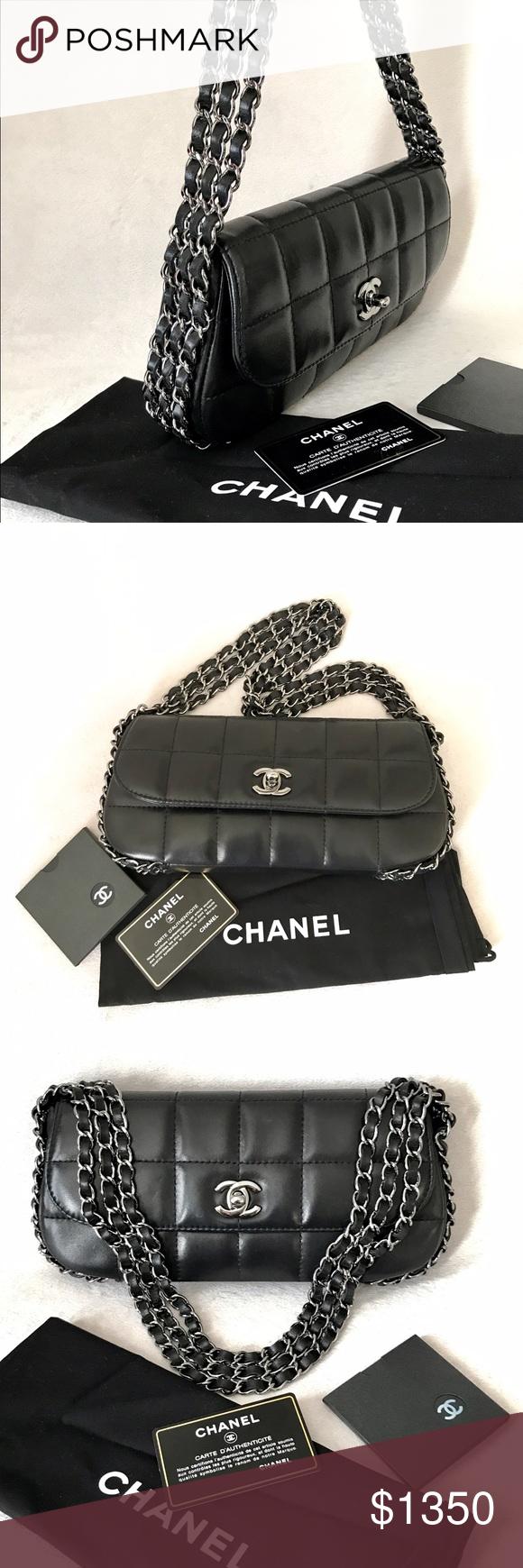 3b4fa1676d29e5 CHANEL Black Square Quilt Multichain Mini Flapbag Authentic Chanel Runaway Black  Quilted Lambskin Multi chain Mini