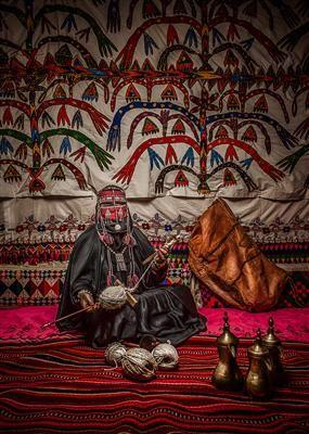 Wool Spinning Bedouin Woman Saudi Arabia Arab Culture Arabic