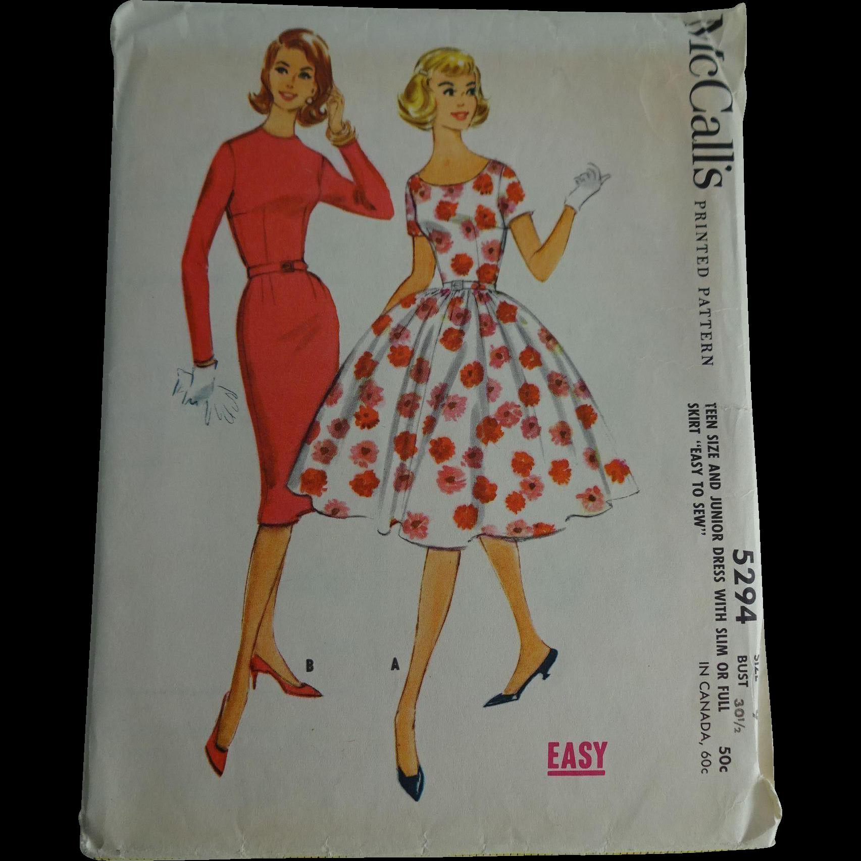 Tea length wedding dress patterns to sew  Wiggle Swing Dress Sewing Patten Vintage s McCalls