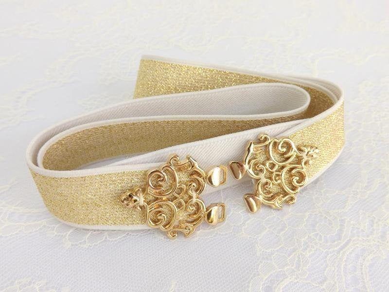 Gold glitter elastic waist dress belt Gold glitter dress