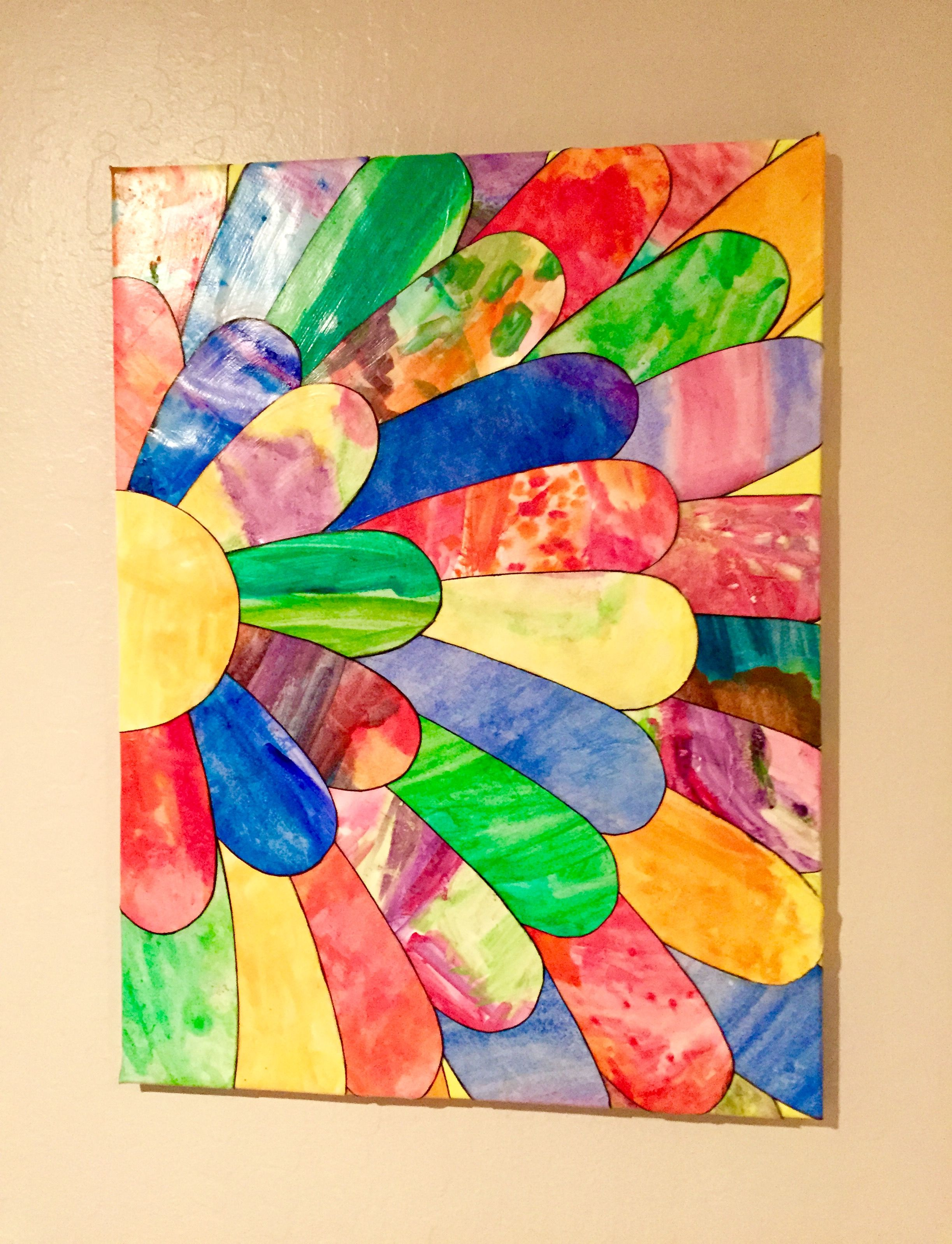 2015. Watercolor art cut into petals and decoupaged on to canvas.