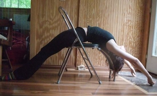 Fun With Props Backbending Over A Folding Chair For Extended Yoga Backbend Iyengar Yoga Yoga Poses