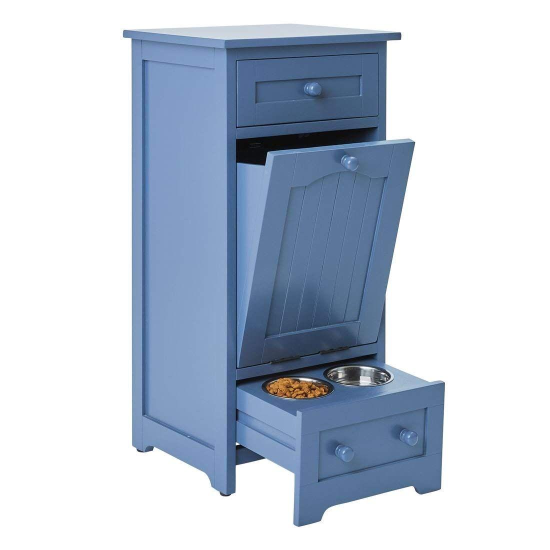Pet food storage cabinet blue
