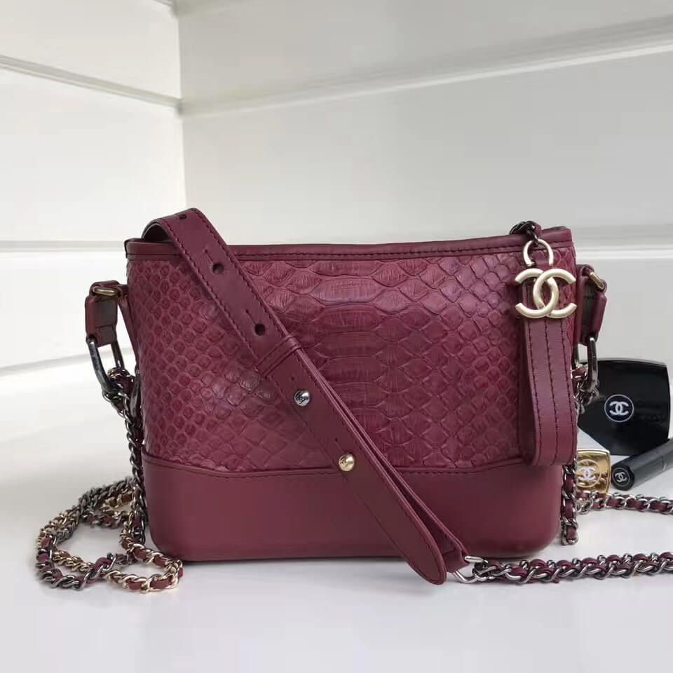 717fc25a6d8d Chanel Gabrielle Small Hobo Bag in Python Leather   Calfskin A91810  Burgundy 2017