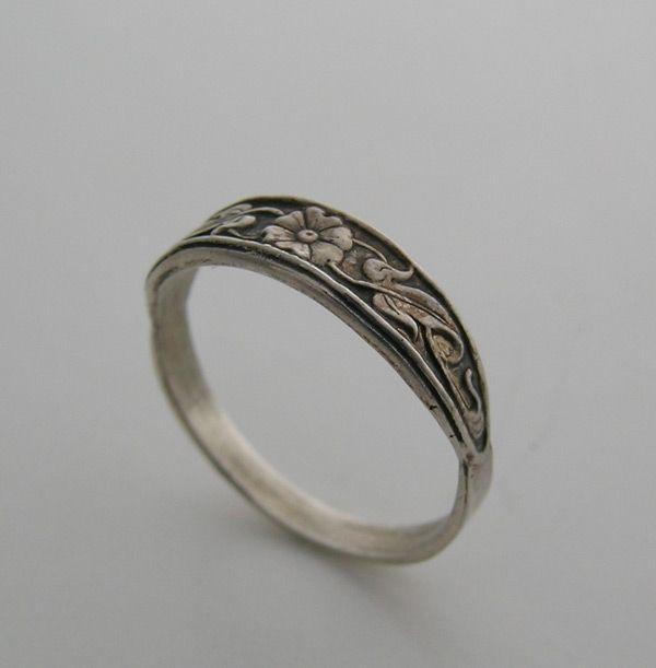 14k Wedding Ring Band Engraved Antique Vintage Art Deco Style
