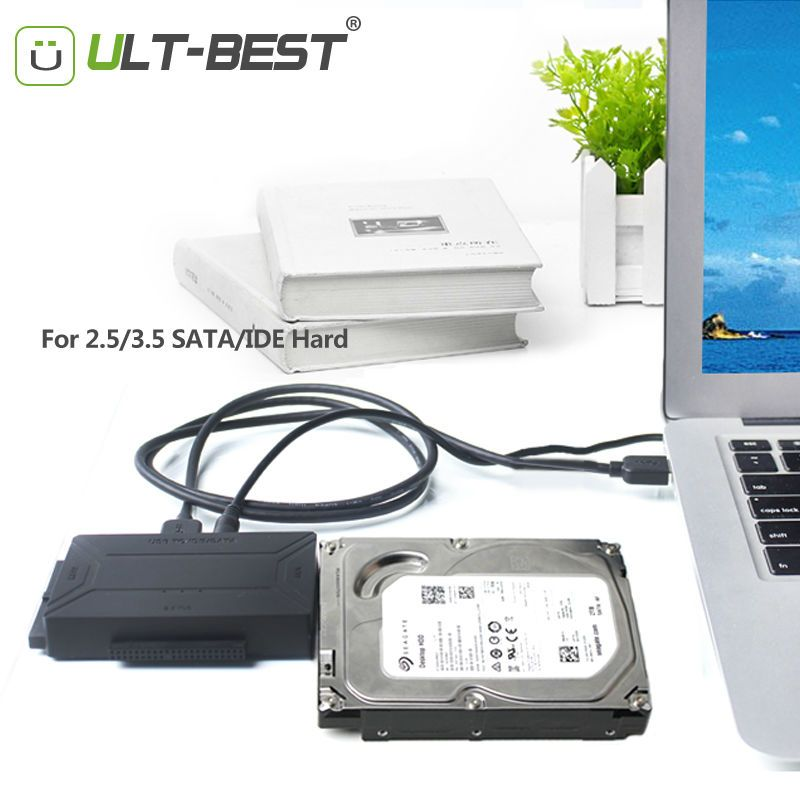 """USB 3.0 External Converter Cable For 2.5 3.5/"""" HDD 5.25inch CDROM w// Power Supply"""