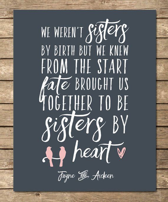 6abf226983c58 Sisters by heart, best friend birthday gift, best friend gift, special  personalized print, friend qu