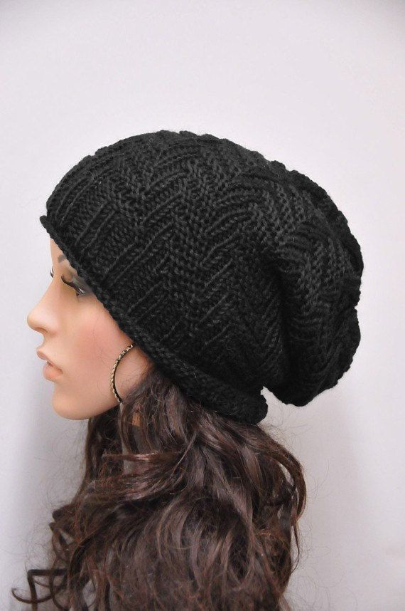 Hand knit hat woman man unisex Chunky Hat Black wool hat - ready to ...